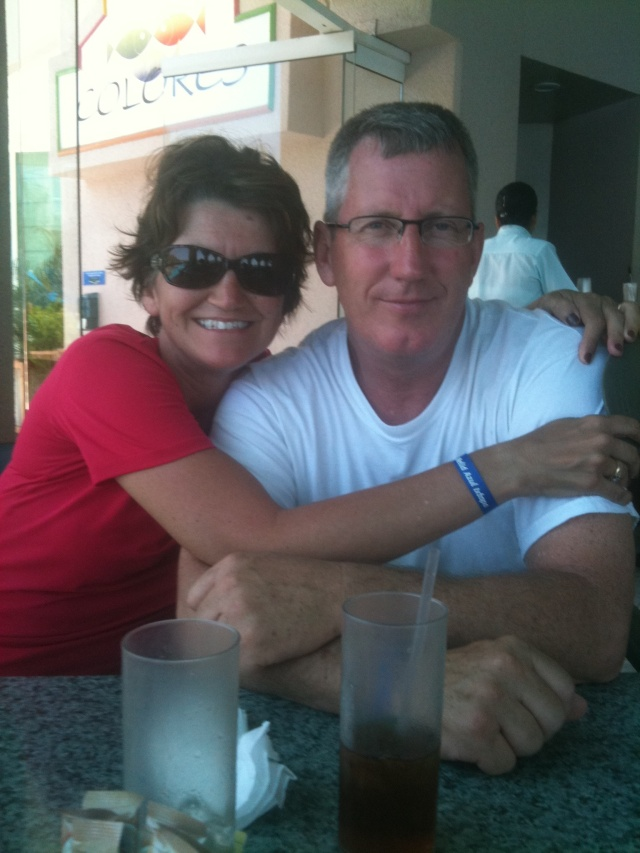 Hubby & me in Mexico. Yes, we just got out of the pool!